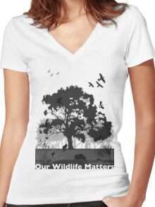 Our Wildlife Matters - Support Native Animal Rescue Women's Fitted V-Neck T-Shirt