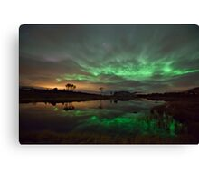 Auroras by the pond Canvas Print