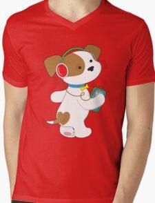 Cute Puppy Headphones Mens V-Neck T-Shirt
