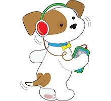 Cute Puppy Headphones by Maria Bell