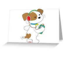 Cute Puppy Headphones Greeting Card