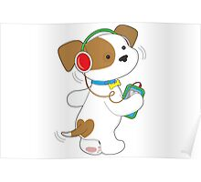 Cute Puppy Headphones Poster