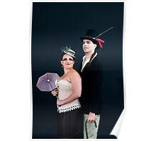 steampunk couple on black  Poster