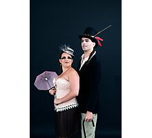 steampunk couple on black  Photographic Print