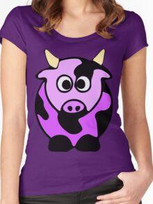 ღ°㋡Cute Lavender Colored Cow Clothing & Stickers㋡ღ° Women's Fitted Scoop T-Shirt
