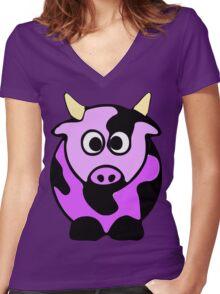 ღ°㋡Cute Lavender Colored Cow Clothing & Stickers㋡ღ° Women's Fitted V-Neck T-Shirt