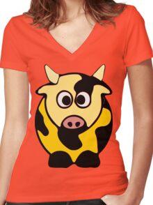 ღ°㋡Cute Brindled Golden Cow Clothing & Stickers㋡ღ° Women's Fitted V-Neck T-Shirt