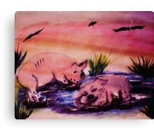 WAKE UP!!  It's my turn, watercolor Canvas Print