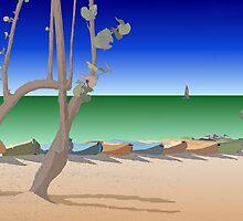 Beach scene illustration by Jeff Knapp