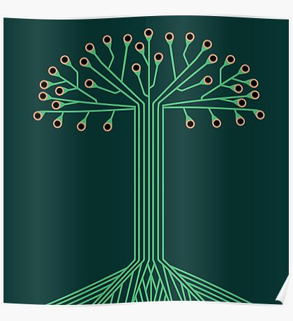 Circuit board tree Poster
