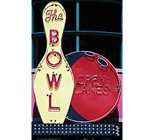 Vintage neon sign for a bowling alley Photographic Print