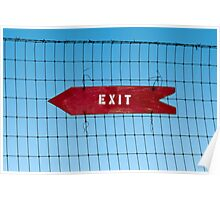 Wooden arrow sign on fence with word 'Exit' Poster