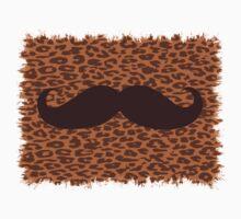 Brown Mustache on leopard skin Kids Clothes