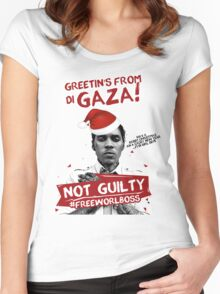 GAZA XMAS TEE- #FREEWORLBOSS Women's Fitted Scoop T-Shirt
