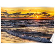 Stormy Lake Michigan Sunset Poster