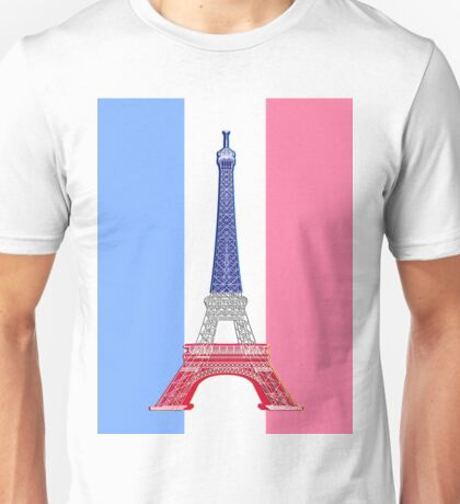 Paris French Flag and Eiffel Tower Unisex T-Shirt