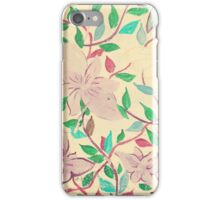 Painted violet flowers on a beige wall  iPhone Case/Skin