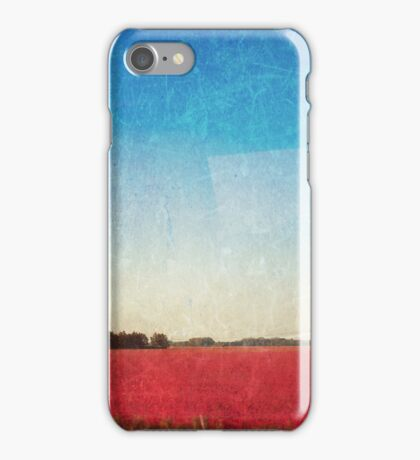 Aumn pink - red  fields on blue textured sky iPhone Case/Skin