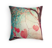 Pink autumn leafs on blue textured background Throw Pillow