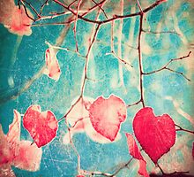 Pink autumn leafs on blue textured background by Andreka