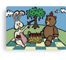Teddy Bear And Bunny - A Dangerous Game Canvas Print