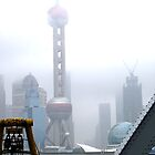 Oriental Pearl Tower Under Fog by gmnick