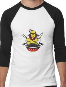 japanese cook chef with knife wok Men's Baseball ¾ T-Shirt