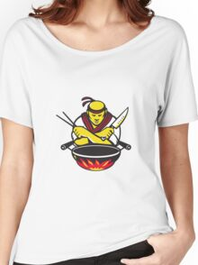 japanese cook chef with knife wok Women's Relaxed Fit T-Shirt