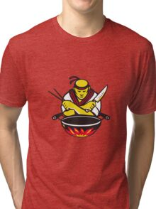 japanese cook chef with knife wok Tri-blend T-Shirt