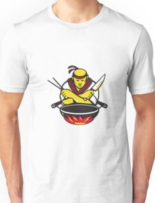 japanese cook chef with knife wok Unisex T-Shirt