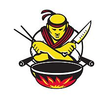 japanese cook chef with knife wok by retrovectors