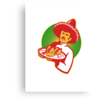 mexican chef serving taco burrito empanada retro Canvas Print