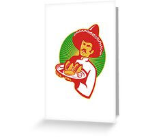 mexican chef serving taco burrito empanada retro Greeting Card