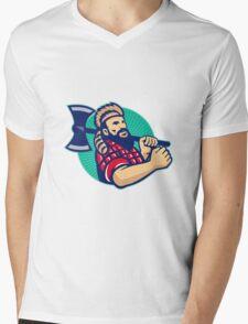 Lumberjack Logger With Axe Retro Mens V-Neck T-Shirt