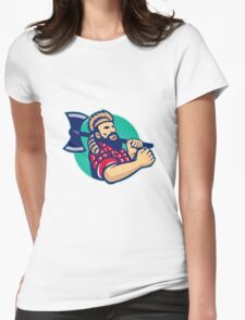 Lumberjack Logger With Axe Retro Womens Fitted T-Shirt
