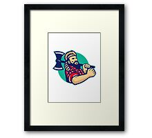 Lumberjack Logger With Axe Retro Framed Print