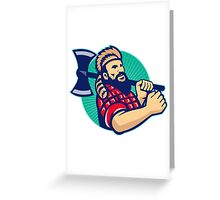Lumberjack Logger With Axe Retro Greeting Card