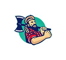 Lumberjack Logger With Axe Retro Photographic Print