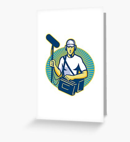 soundman worker with microphone retro Greeting Card