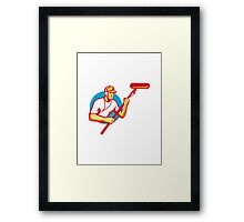 soundman sound man with microphone retro Framed Print