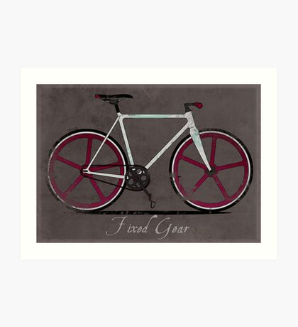 Fixed Gear White Bicycle Art Print