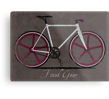 Fixed Gear White Bicycle Metal Print