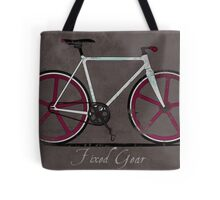 Fixed Gear White Bicycle Tote Bag