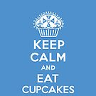 Keep Calm and Eat Cupcakes blue 3G  4G  4s iPhone case  by Andi Bird