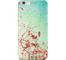 Pink autumn leafs on blue textured background iPhone Case/Skin