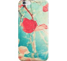 Pink autumn leafs on blue textured background iPhone Case/Skin