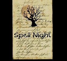 spell night Halloween tree moon by Tia Knight