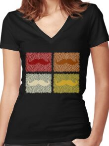 Funny Mustaches Women's Fitted V-Neck T-Shirt