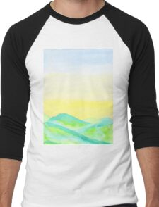Hand-Painted Green Hills Blue Yellow Sky Watercolor Landscape Men's Baseball ¾ T-Shirt