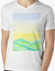 Hand-Painted Green Hills Blue Yellow Sky Watercolor Landscape Mens V-Neck T-Shirt